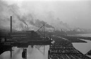 Mills and Log Booms on False Creek 1936