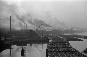 Mills and Log Booms on False Creek 1936